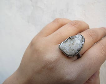 White druzy  with pyrite and sterling silver ring - One of a kind - Size 8 - Crystal jewelry - Organic  - Nature inspired - Gift for her