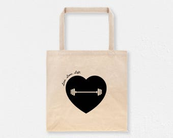 Live Love Lift Tote Bag | Weightlifting Canvas Tote | Fitness Gym Tote | Gym Cotton Tote Bag
