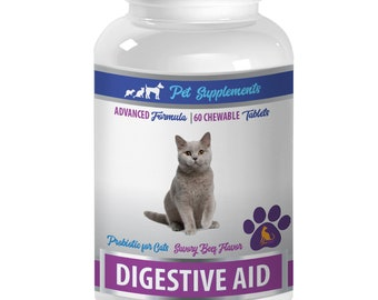 cat digestive care food - Digestive Aid - For Cats - Advanced Probiotic - Chewable - cat beef treats - 1 Bottle (60 Chews)