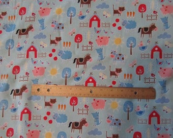Blue Farm Animal/Sheep/Cow/Pig/Horse/Barn/Fence Flannel Fabric  by the Yard