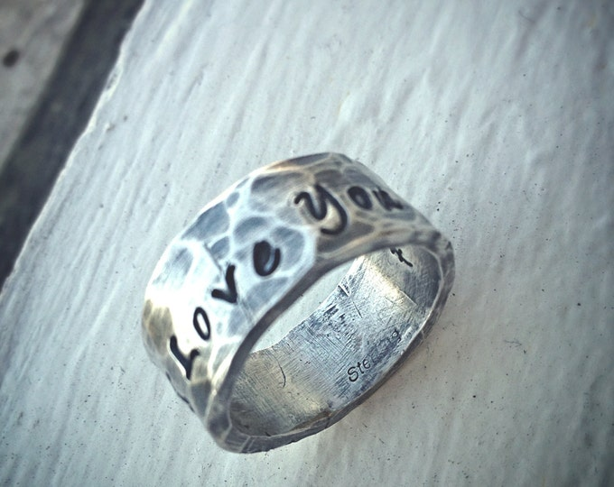 Custom Hand Stamped Extra Wide Ring - Solid Hand-Forged Sterling Silver - Customizable - Your Message - Inside AND Outside - Choice of Font