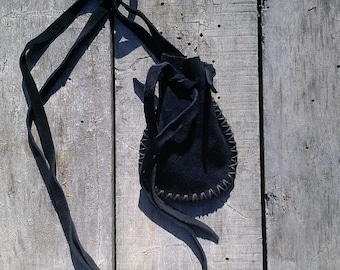 Black Leather Necklace Pouch