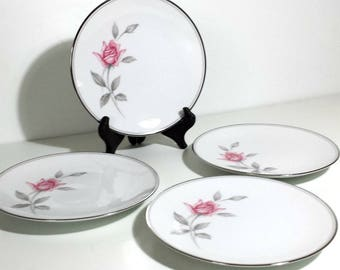 Noritake Rosemarie Bread & Butter Plates Set of 4 / 1960s Small Plates with Pink Roses Gray Leaves Set of 4