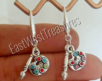 925 silver Colorful Rhinestone Crystal Artist Artist's Painter paint palette with brush Dangle drop earrings
