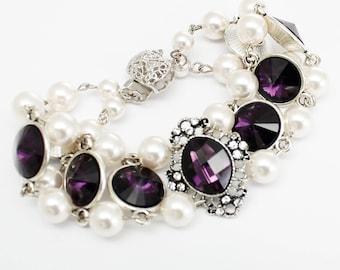Bracelet, Eggplant Purple Bracelet, Victorian Bracelet, Statement Cuff Double Strand Bracelet, White Pearls Jewelry, Bridal Wedding Bracelet