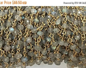 40% OFF 10 Feet Labodorite 3mm Faceted Gold Plated Wire Wrapped Chain -1Foot -CHGS12-LB