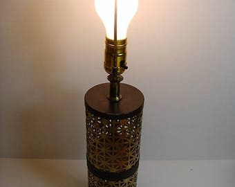 Pierced Metal Table Lamp Atomic Cylinder 1960's Metal Atomic Lamp Gold and Black Table Lamp