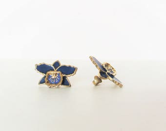 Vintage Flower Shaped / Gold tone / Blue Clips on Earrings