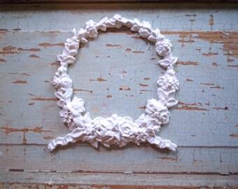 Shabby Chic FURNITURE APPLIQUES LARGE Floral Wreath Flexible Paintable