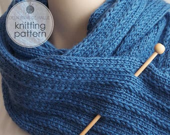 Knitting Pattern Scarf. Knit Scarf. Knit Patterns. Scarf Knitting Pattern. Knitted Scarf Pattern. Pattern Scarf. His-Hers Scarf in Blue Wool