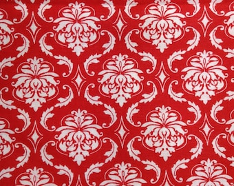 One Half Yard Piece of Fabric Material - Red and White Damask