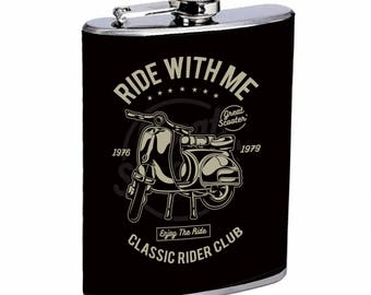 Sooku Design Stainless Steel Flask 8oz with Beautiful T-shirt Design Ride With Me