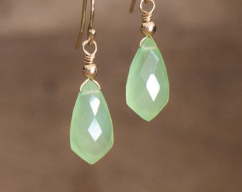 Mint Green Chalcedony Earrings, Silver or Gold Drop Earrings, Small Arrowhead Earrings, Prehnite Green Dainty Gemstone Drop Earrings