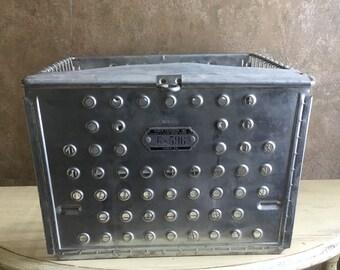 Vintage Androck  Metal Wire Locker Basket Industrial Storage Gym Railway Number G - 596