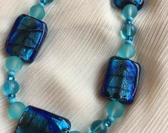 Hand Beaded Glass bead necklace - ocean blue