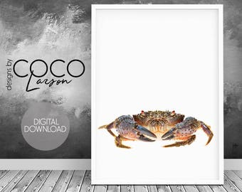 Crab print, woodland nursery art, woodland baby shower, crab decor, gift for her, nursery wall decor, crab digital print, coastal art decor