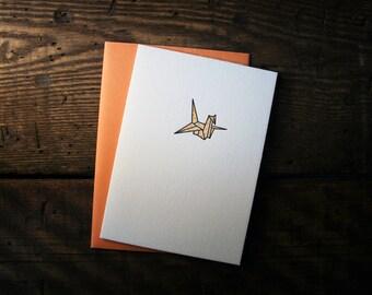 Letterpress Printed Origami Crane Card (Orange) - single