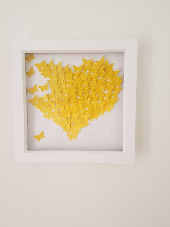 3D Butterfly Wall Art in shape of love heart. 23cmx23cm White