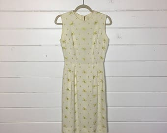 Vintage 1960s Cream Linen Sundress / Wiggle Dress / Green Floral Embroidery / Made by Meg Madison