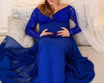 Royal blue full lenght jersey maternity dress, maternity photo shoot, maternity gown , lace dress, maternity photography, photoprops