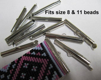 End Caps Slider Clasps, 1 1/8 Inch, (30 MM) Silver, Loom Bead Patterns, Loom Findings, 6 or 12 Pack, Fits Size 11 & 8  Beads