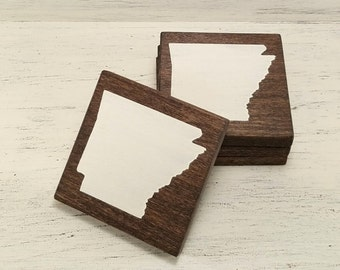 Pick State, Pick Color, Arkansas Wood Coasters, Set of 4, Wedding Gift, Housewarming Gift