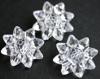 Three (3) Clear Sunflower Buttons. Clear Buttons. Clear Acrylic Buttons. Plastic Buttons with Rhinestone Centers. 28mm
