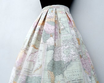 World map skirt in pastel colors, high waisted full skirt, all sizes and plus sizes