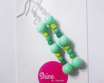 Green tropical dangle earrings