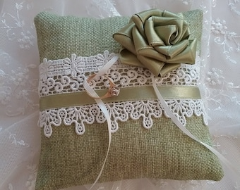 Ring Bearer Pillow Green/ white lace/ romantic rose