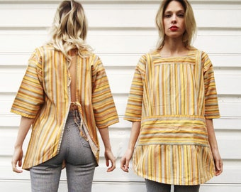 Vintage 70s Yellow Brown Blue Orange Striped Open Tie Back Long Smock Top One Size