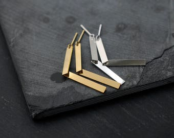 2 legged articulated Silver or 18kt gold-plated earrings