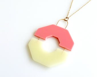 SPLIT NECKLACE PINK | pink necklace, hexagon, statement necklace, minimalist necklace, geometric jewelry, long necklace, modern, minimal |