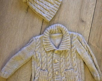 cardigan and hat for toddlers and babies