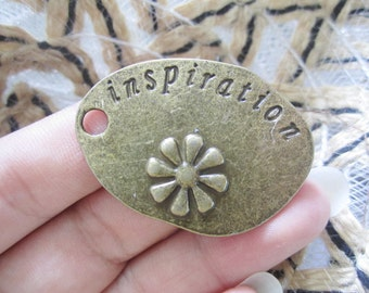 10pc 53.5x45mm antiqued bronze inspiration daisy  pendants
