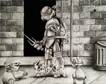 Charcoal Raphael drawing 14X24