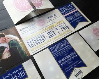 Custom Fold Wedding Invitation Suite | Wedding Announcement | Invitation Design | Vow Renewal | Reception Invitation | Custom Monogram