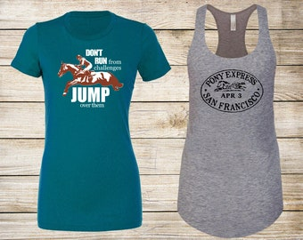 SALE! Equestrian T-Shirt Bundle: Jump Over Challenges Fitted T-Shirt & Pony Express Racerback Tank Top - Size Medium