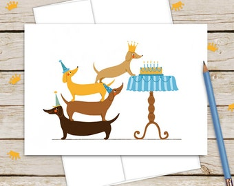 Dachshund Birthday Card for Dog Lovers or Kids