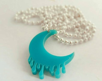 Blue Dripping melting Moon Fairy kei Laser Cut Acrylic Necklace