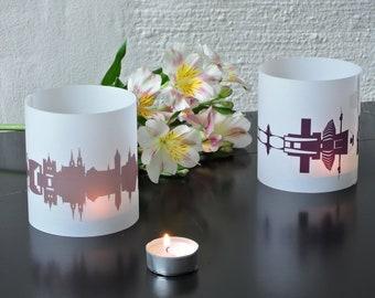 Light Covers BASEL Skyline City Light Lantern, 2 Basel Tablelight Shade in fume and plum, Gift BASEL Lovers, Basel Honeymoon candle light