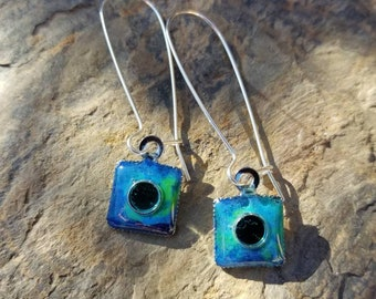 Blue Reflective Square Earrings / gift idea  / One of a kind