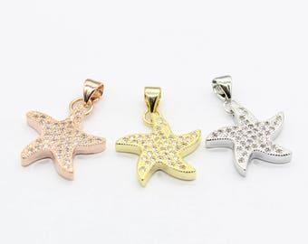 Micro Pave CZ Diamond Sea Starfish charm, Starfish Pendant Micro Pave Findings