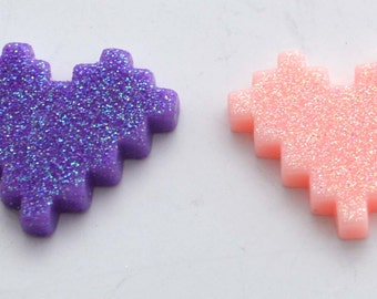 Pixel Hearts Video Games Glitter Plastic Kawaii Decoden Kitsch Flatbacks Cabochons
