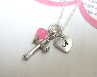 Girls Personalized Sterling Silver Initial Necklace with Cross, Heart and Stone... Custom Hand Stamped Jewelry