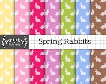 Easter Bunny Digital Paper, Spring Rabbit Digital Paper, Instant Download, Commercial Use, Pink Scrapbook Paper, New Baby Digit