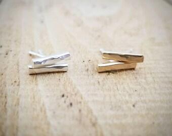 Sterling silver bar earrings, 14K gold bar earrings, Ready to Ship, Studs, Minimalist earrings, Hammered bar earrings, Gold stud earrings