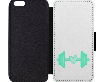 Green Barbell Heart Print Leather Flip Wallet Case Apple iPhone 4 5 5S SE 6 6S 7 7S 8 8S X Plus