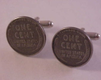 1943 Lincoln Steel Wheat Penny Coin Cuff Links