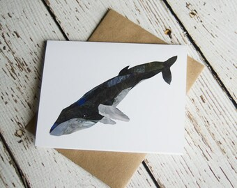 Humpback Whale Greeting Card of Original collage